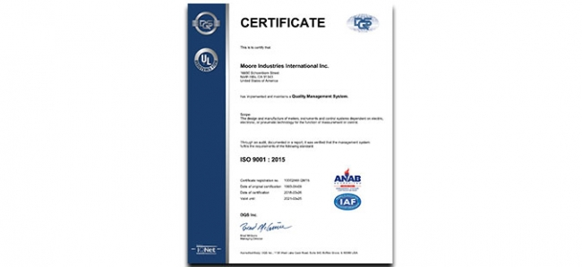 Moore Industries Receives ISO 9001:2015 Certification